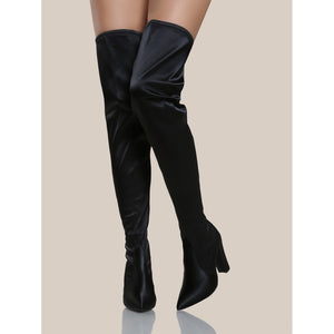 Satin Thigh High Boots BLACK - Anabella's