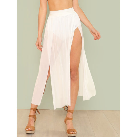 Split Mesh Skirt Cover Up