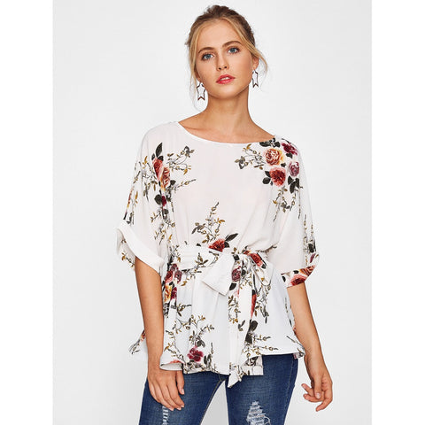 Cuffed Sleeve Self Belted Botanical Top