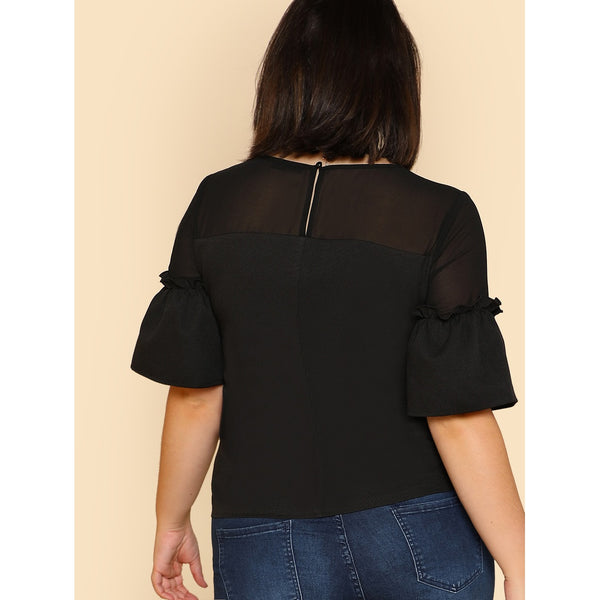 Semi Sheer Shoulder Frilled Sleeve Top - Anabella's