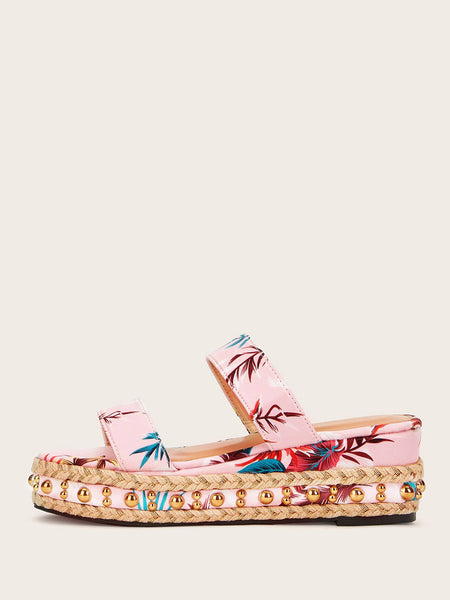 Two Part Beaded Decor Espadrille Wedges