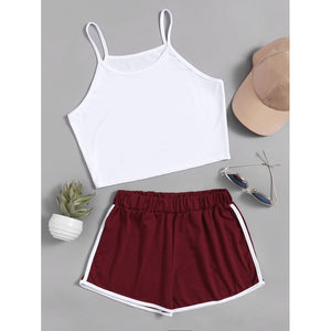 Crop Cami Top With Contrast Trim Shorts BURGUNDY