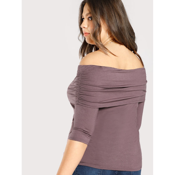 Ruched Foldover Off Shoulder Top - Anabella's