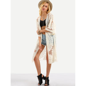 Open-Front Flower Embroidered Mesh Kimono - White