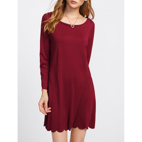 Scalloped Hem Tee Dress