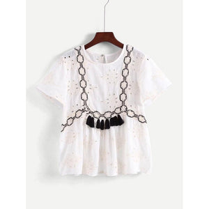 Contrast Lace Tassel Detail Eyelet Embroidered Blouse