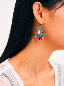 Bead Decor Hollow Out Round Drop Earrings 1pair