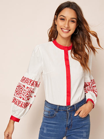Contrast Binding Embroidery Blouse