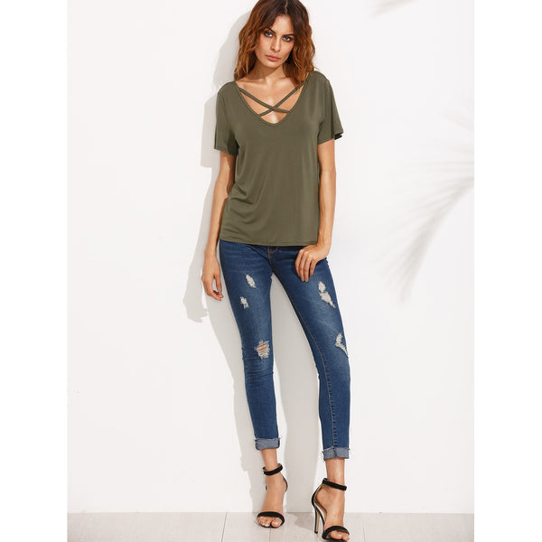 9994c5f79d Criss Cross Front V Back Tee | Anabella's