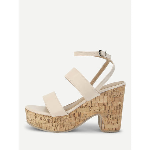Peep Toe PU Wedge Sandals