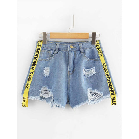 Ribbon Letter Ripped Frayed Hem Denim Shorts