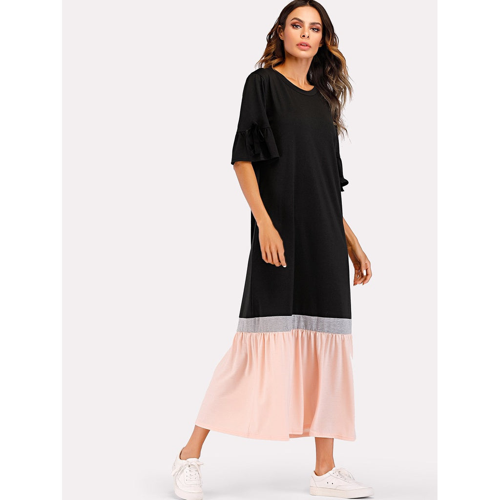 Colorblock Hem Flounce Knot Sleeve Dress Black