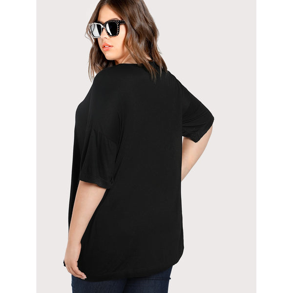 Drop Shoulder Bell Sleeve Tee BLACK - Anabella's