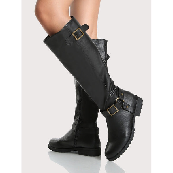 Side Buckle Round Toe Calf Boots BLACK - Anabella's