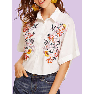 Flower Embroidered Wide Sleeve Shirt