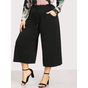 Plus Drawstring Waist Wide Leg Pants