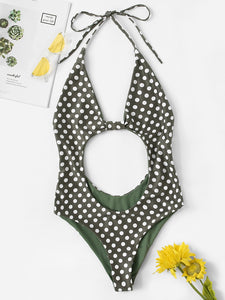 Polka Dot Cut-out Backless One Piece Swimwear