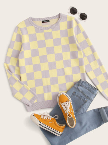 Two Tone Checked Sweater