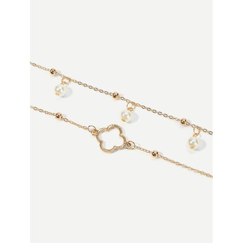 Clover Design Layered Chain Anklet