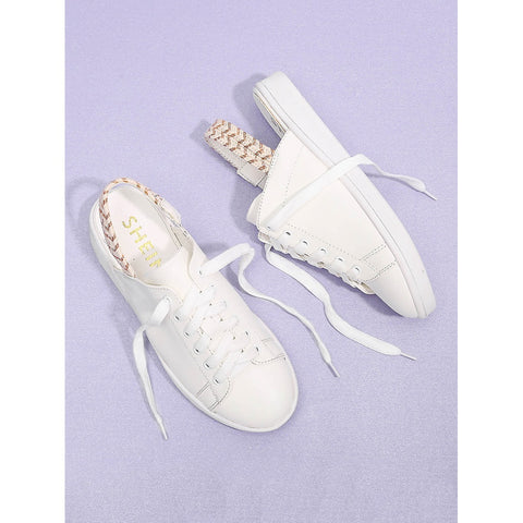 Lace Up Round Toe PU Sneakers