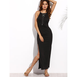 Criss Cross Back Split Longline Dress BLACK - Anabella's