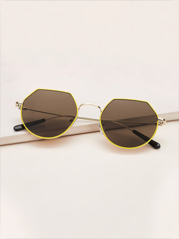 Polygon Frame Flat Lens Sunglasses
