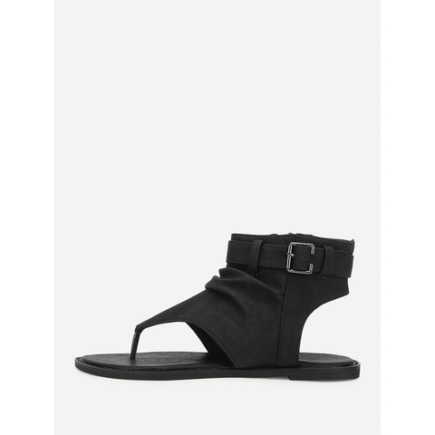 Toe Post Ankle Sandals Black
