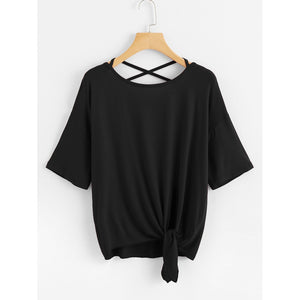Crisscross Back Knot Hem Tee Black