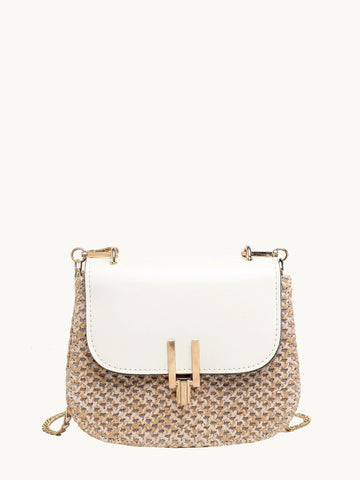 Woven Flap Chain Crossbody Bag