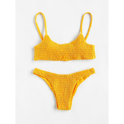 Push Up Shirred Bikini Set YELLOW