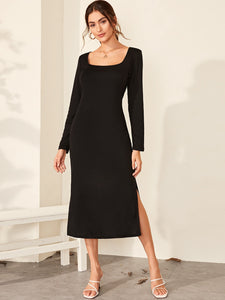 Solid Square Neck Slit Hem Dress