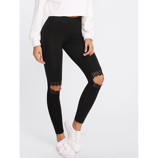 Knee Cutout Embroidered Mesh Insert Leggings