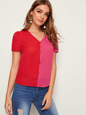 Button Detail Two Tone Top