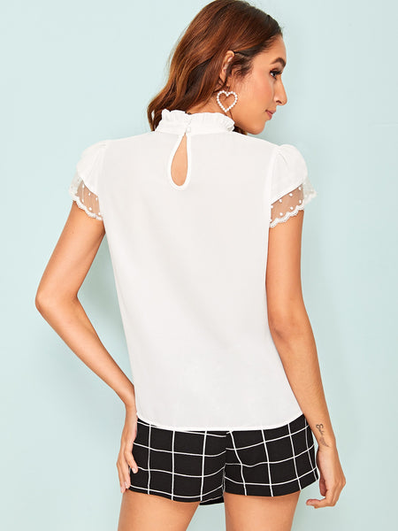 Frilled Neck Dobby Dot Mesh Sleeve Top