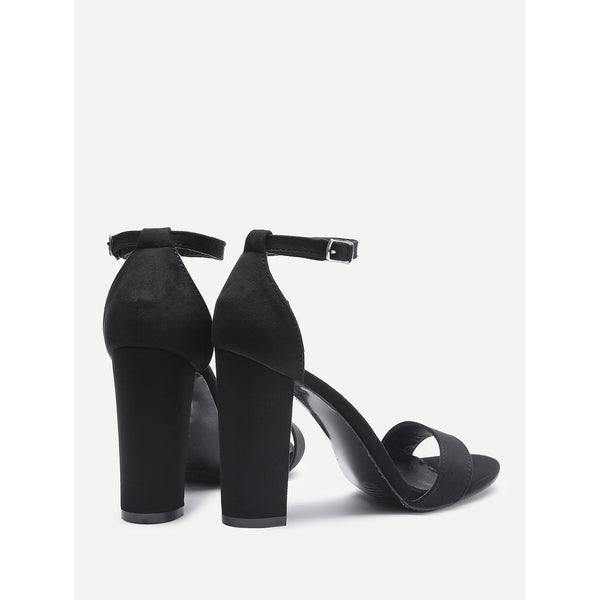 Two Part Block Heeled Sandals - Anabella's