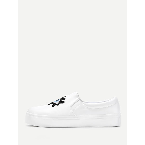Embroidery Detail PU Sneakers - Anabella's