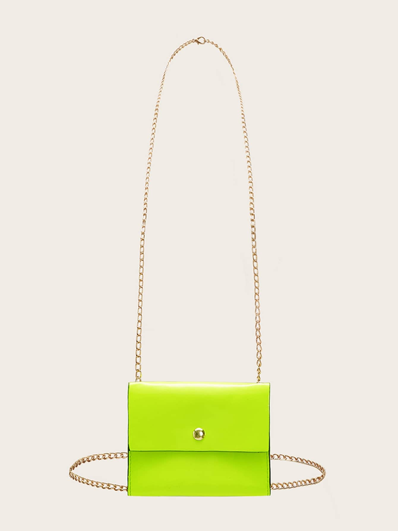 Neon Lime Chain Strap Flap Multifunction Bag
