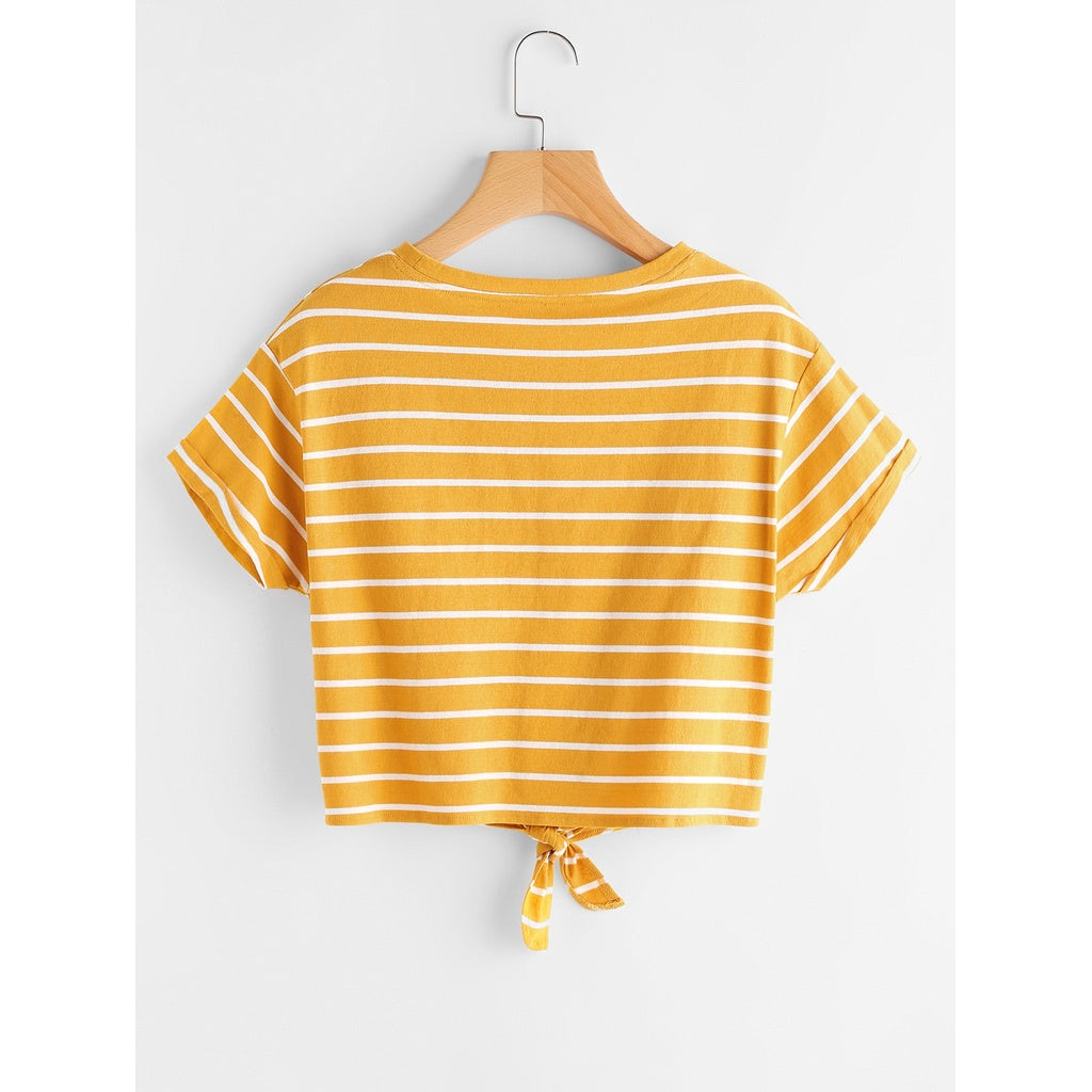 dfd3d3836b9c ... Striped Knot Front Tee YELLOW