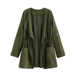 Olive Green Drape Collar Drawstring Waist Coat