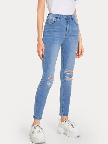 Washed Ladder Distressed Jeans