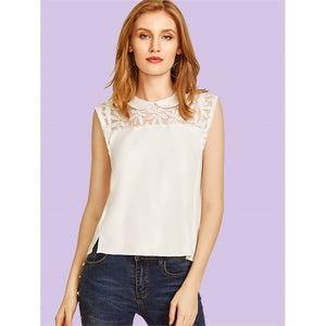 Embroidered Mesh Yoke Asymmetric Top