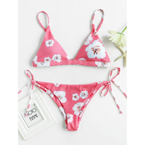 Flower Allover Print Tie Side Bikini Set