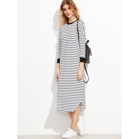 Striped Contrast Trim Drop Shoulder Tee Dress