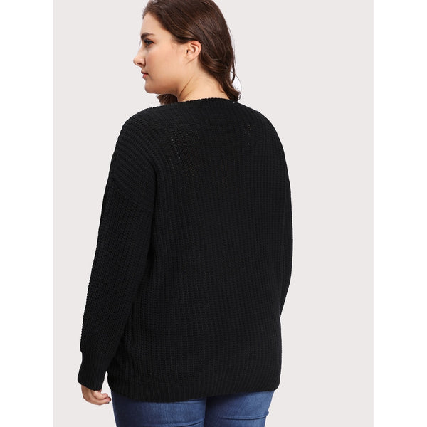 Embroidery Applique Drop Shoulder Jumper - Anabella's