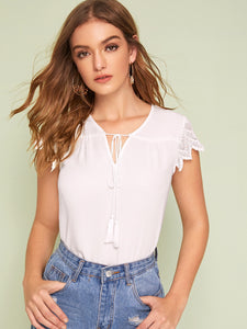 Solid Lace Sleeve Fringe Detail Top