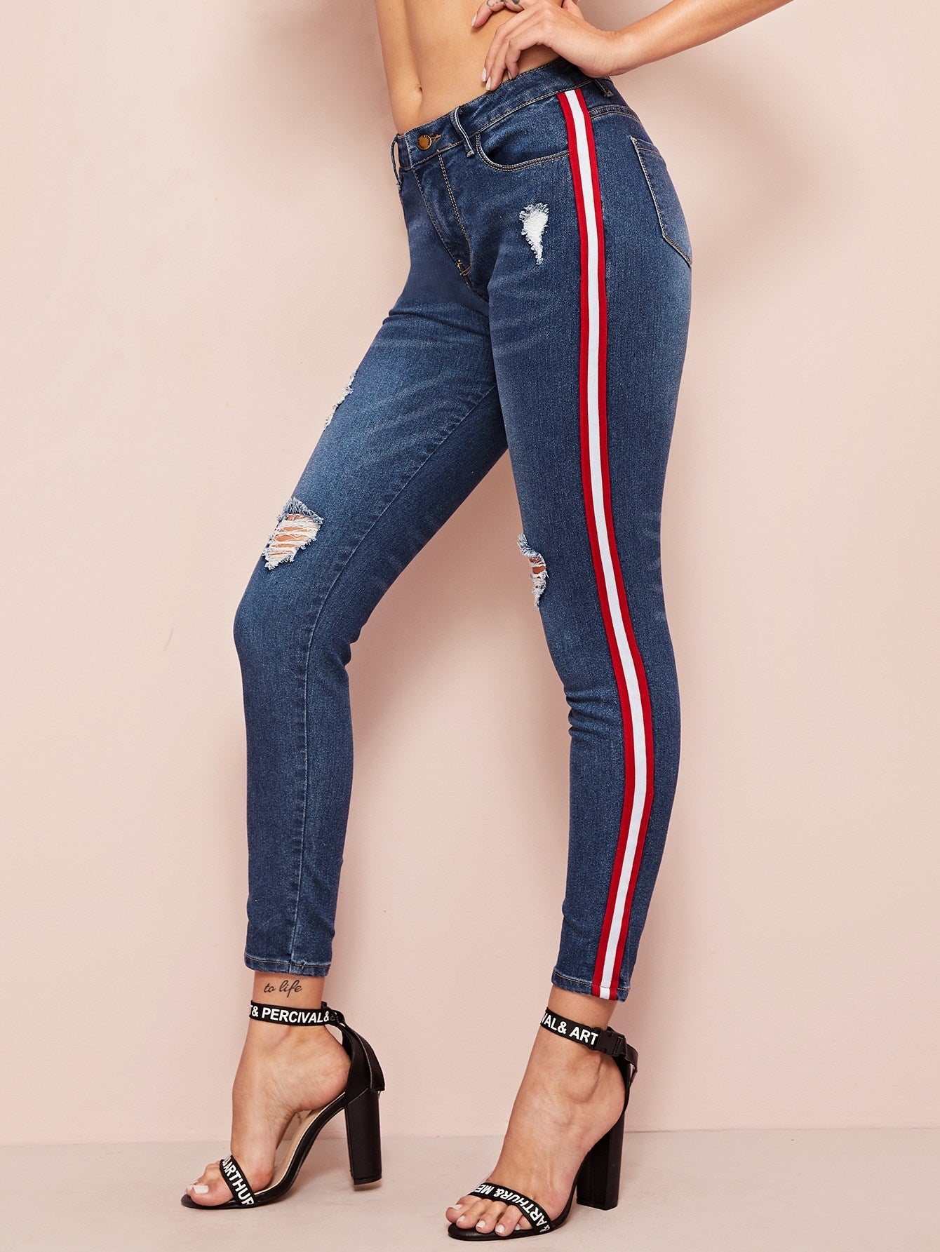 Contrast Striped Side Ripped Skinny Jeans