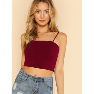 Solid Crop Cami Top BURGUNDY - Anabella's
