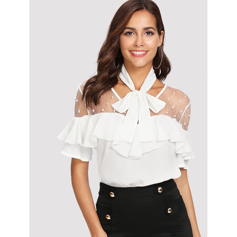 Mesh Insert Tied Neck Blouse