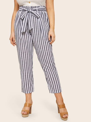 Plus Paperbag Waist Belted Stripe Pants