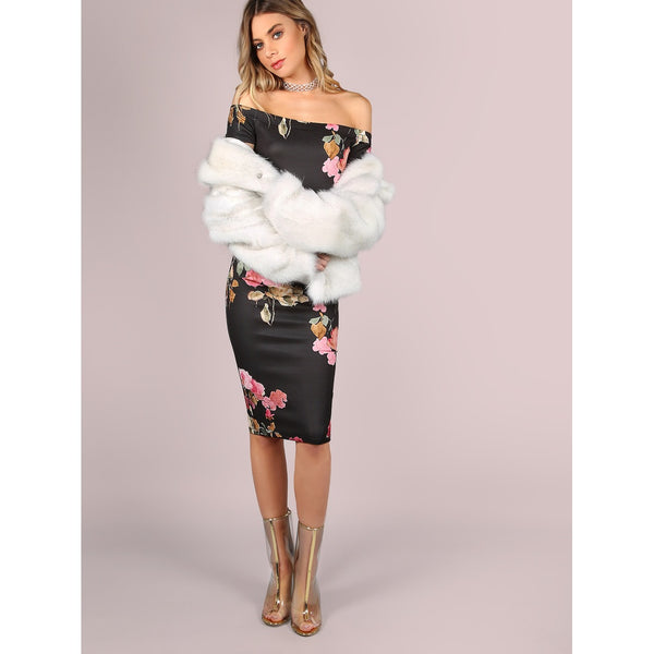 Bardot Neckline Floral Bodycon Midi Dress